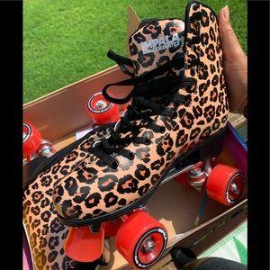 Impala cheetah print quad skates